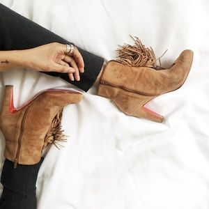 Authentic Louboutin Suede Tassel Booties, US 10